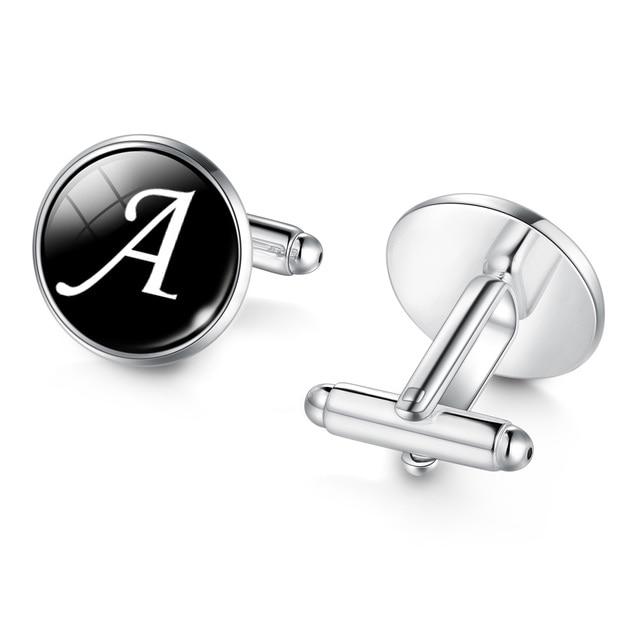 Men's Fashion A-Z Single Alphabet Cufflinks Silver Color Letter Cuff Button for Male Gentleman Shirt Wedding Cuff Links Gifts 1