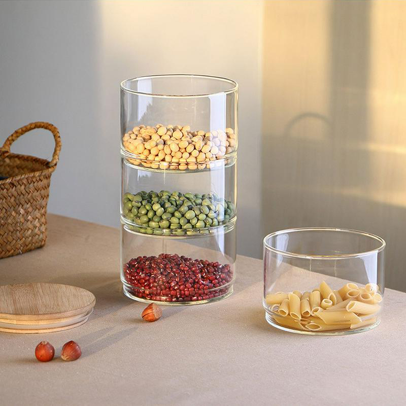Transparent High Borosilicate Glass Kitchen Storage Bottle Food Bulk Container Stackable Dried Fruit Storage Can Salad Bowl Box