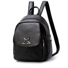 Women Backpack Leather Bag Travel Backpack Star Rivets School Bags For Teenager Girls Headphone Jack Sac A Dos Feminine Designer все цены