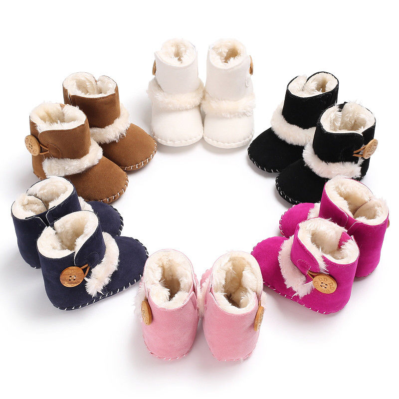 Infant Baby Boy Girl Toddler Snow Shoes Winter Soft Sole Plush Half Boots 0-18M