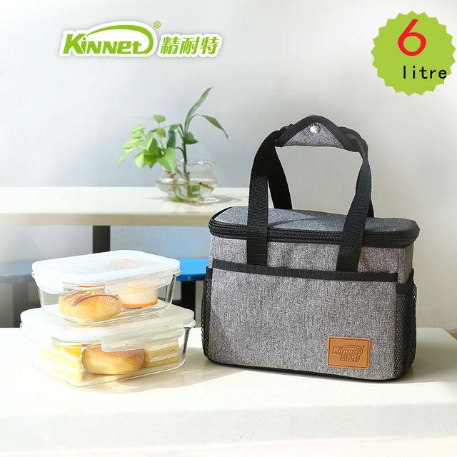 Kinnet almoço saco de isolamento à prova d' água saco de tecido oxford forro de folha de alumínio espessamento comida saco térmico caixa de gelo de refrigeração 6l