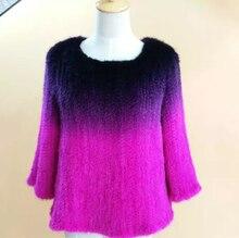 2016 the new mink fur coat mink fur shawl sweater knit sweater gradient fur coat