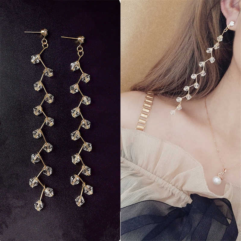 2019 Hot New Fashion Black White Crystal Beaded Brincos DIY Pure Hand-Made Long Statement Tassel Drop Earrings Women Jewelry
