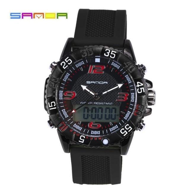 Original de la Marca de Los Hombres Reloj de La Manera LED Digital Reloj de Cuarzo Reloj de Los Hombres 50 m Impermeable Sport Caucho Relojes Reloj Relogio masculino