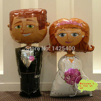 TSZWJ Free shipping 2pcs / lot upright models with high quality wedding bride and groom aluminum balloons party suit wholesale