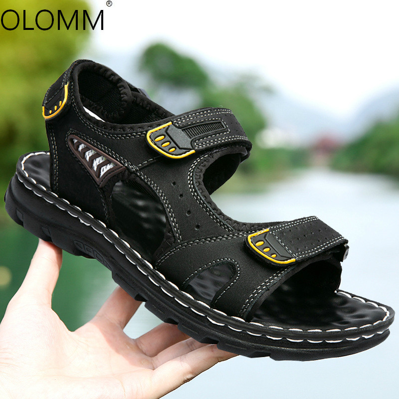 2019 new outdoor beach sandals leather mens gladiator sandals summer(China)