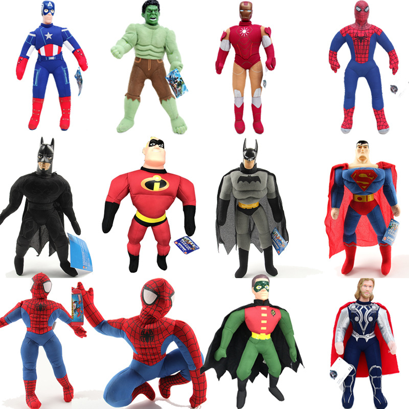 25cm The Avengers Plush Toys Doll Spiderman Batman Superman Ironman Hulk Captain America Thor Plush Stuffed Toys For Kids Gifts