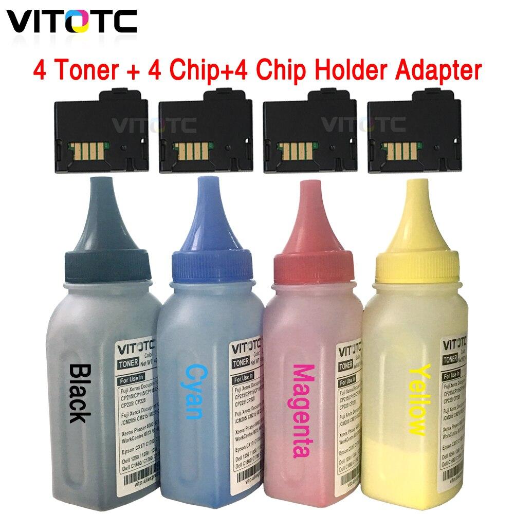 4 fles Toner + 4 Cartridge chip + 4 Chip Cover Cap voor Xerox Phaser 6020 6022 WorkCentre 6025 6027 printer poeder refill reset