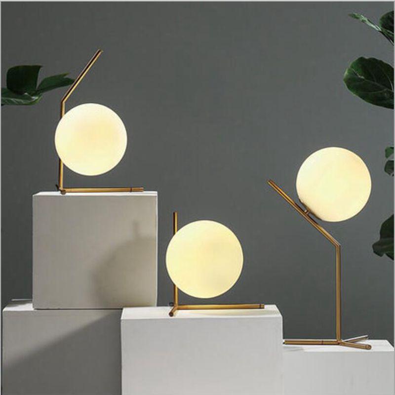 Moderne led tisch lampe schreibtisch lampe licht schatten glas ball tisch lampe schreibtisch licht für schlafzimmer wohnzimmer boden nacht gold designs