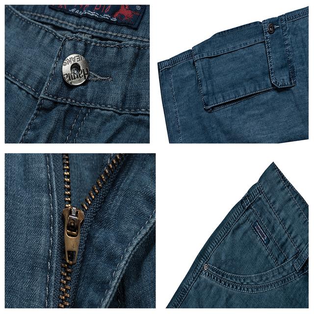 HARPIA Classic Mens Cargo Jeans Shorts Men Multi-pocket Jeans Blue Loose Straight Denim Shorts Male Cotton Plus Size Short Pants