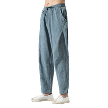 Flax Men Casual Pants 2019 Mens Cotton Linen Trousers Summer Male Solid Elastic Waist Loose khaki Plus Size M-5XL