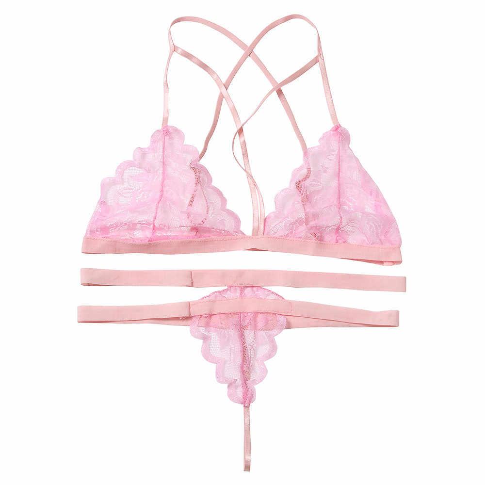 2017 Bikini femmes Sexy Lingerie dentelle robe Babydoll sous-vêtements vêtements de nuit vêtements de nuit G-string filles rose soutien-gorge livraison directe JL12Y