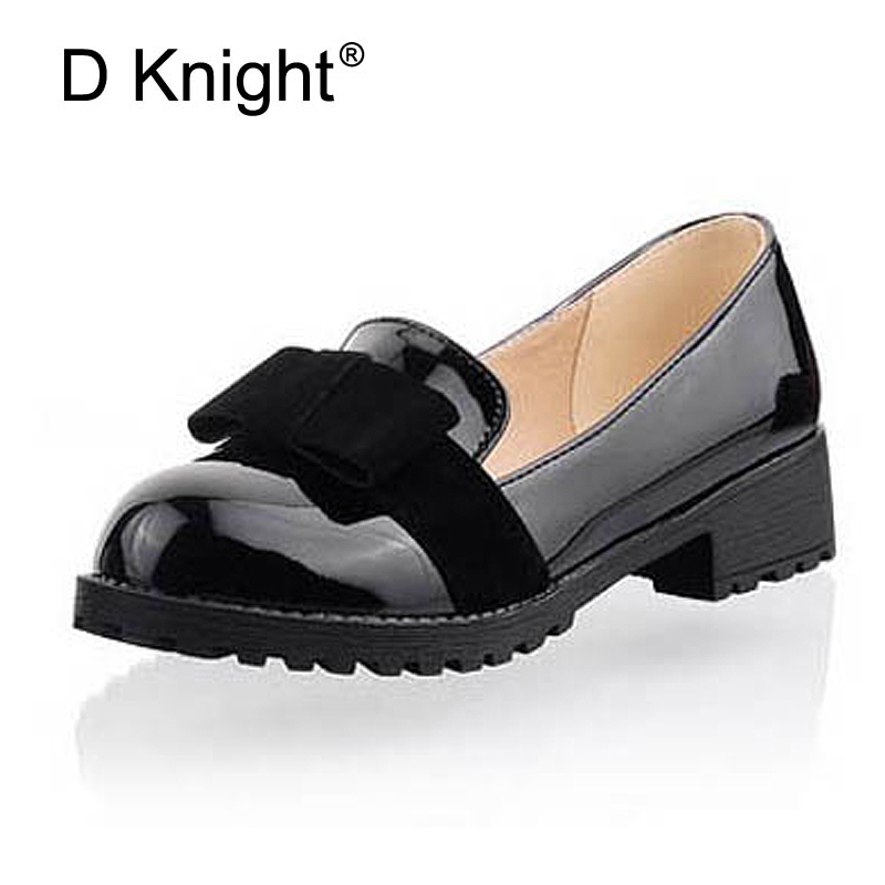 New Round Toe Slip on Women Loafers Fashion Bow Patent Leather Women Flat Shoes Ladies Casual Flats Big Size 34 43 Women Oxfords