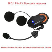 2PCS Free Shipping T-MAX 1500M Waterproof Motorcycle Helmet Bluetooth Handsfree 6 Riders Group Interphone Intercom Headset