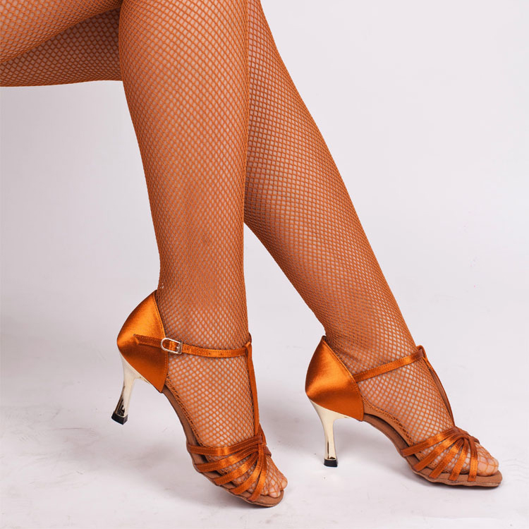 Wholesale Discount High Quality Hard Joined Yarn Toffee And Black Women Spandex Ballroom Professional Latin Fishnet Dance Tights