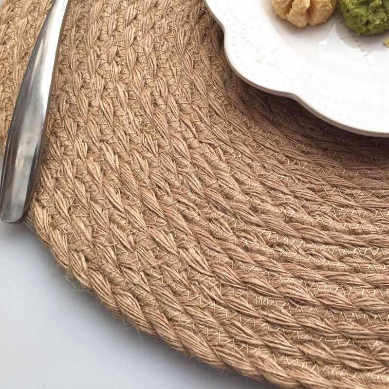 Neue Flachs Stroh Weben Verdickt Von Einrichtungs Küche Runden Tisch Anti Heiße Isolierung Pad Tischset Kaffee Tee Setzern Heiße