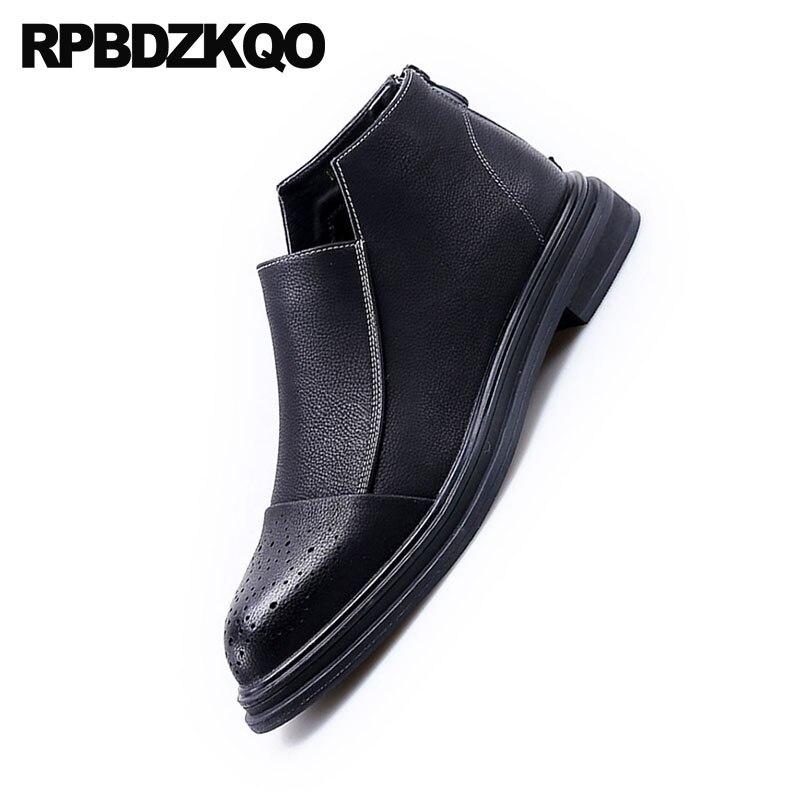 2018 Bout Zipper Elevator Chaussures Élégant Hommes Noir Étanche Brogue Haute black Black Robe Automne Pointu Formelle Partie Cheville Bottines Top Bottes Court Xw0P8nONk