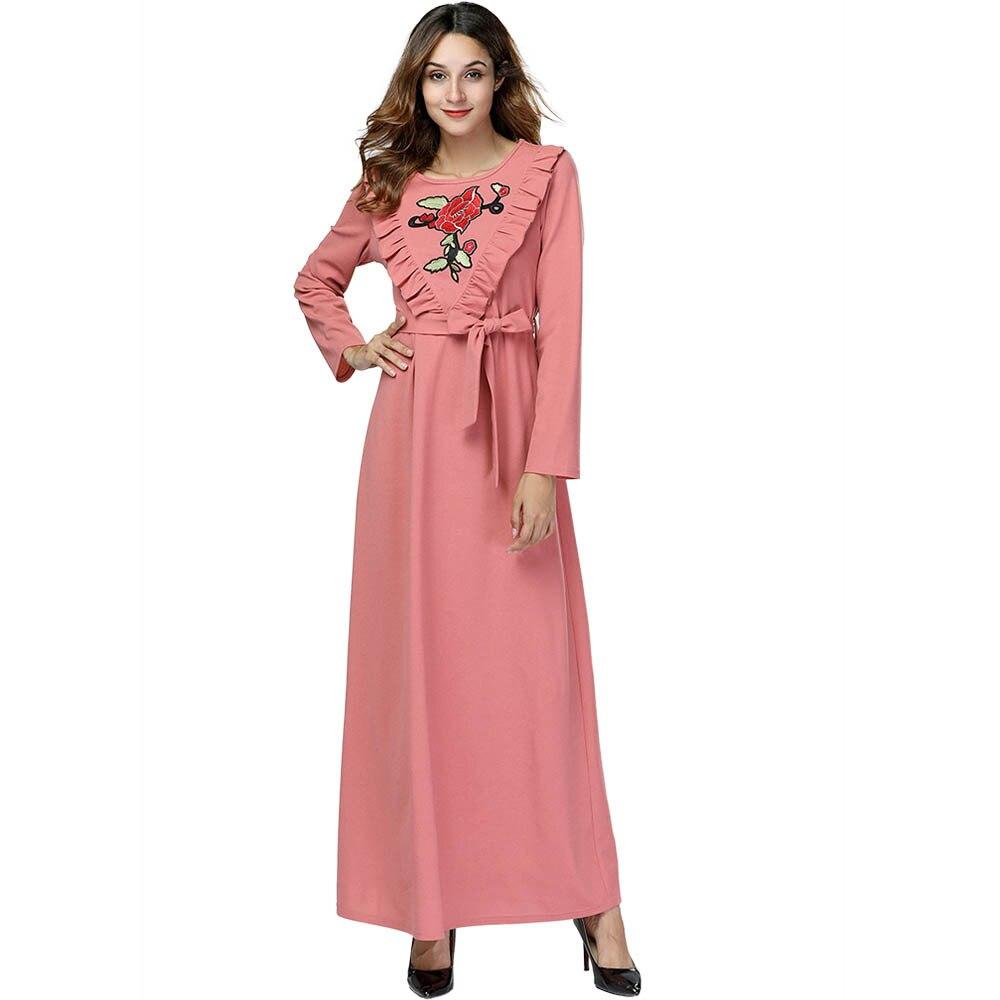 Fasce Cascading Musulmano Rosa Della Vestito E Ruffle Floreale Patchwork  Abiti Ricamo Maxi Molla Da Lungo ... fb754fd378c1
