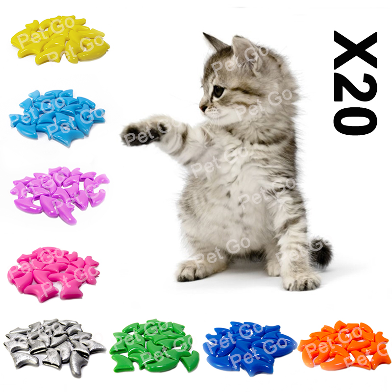 20pcs Soft Cat Nail Caps / Cat Nail Cover / Paw Claw / Pet Silicon Nail Protector With Free Glue And Applictor /size Xs S M L