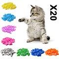 Мягкие колпачки для кошачьих когтей, 20 шт, накладки для кошачьих когтей, лапы, ПЭТ, силиконовый протектор для когтей с бесплатным клеем и апп...