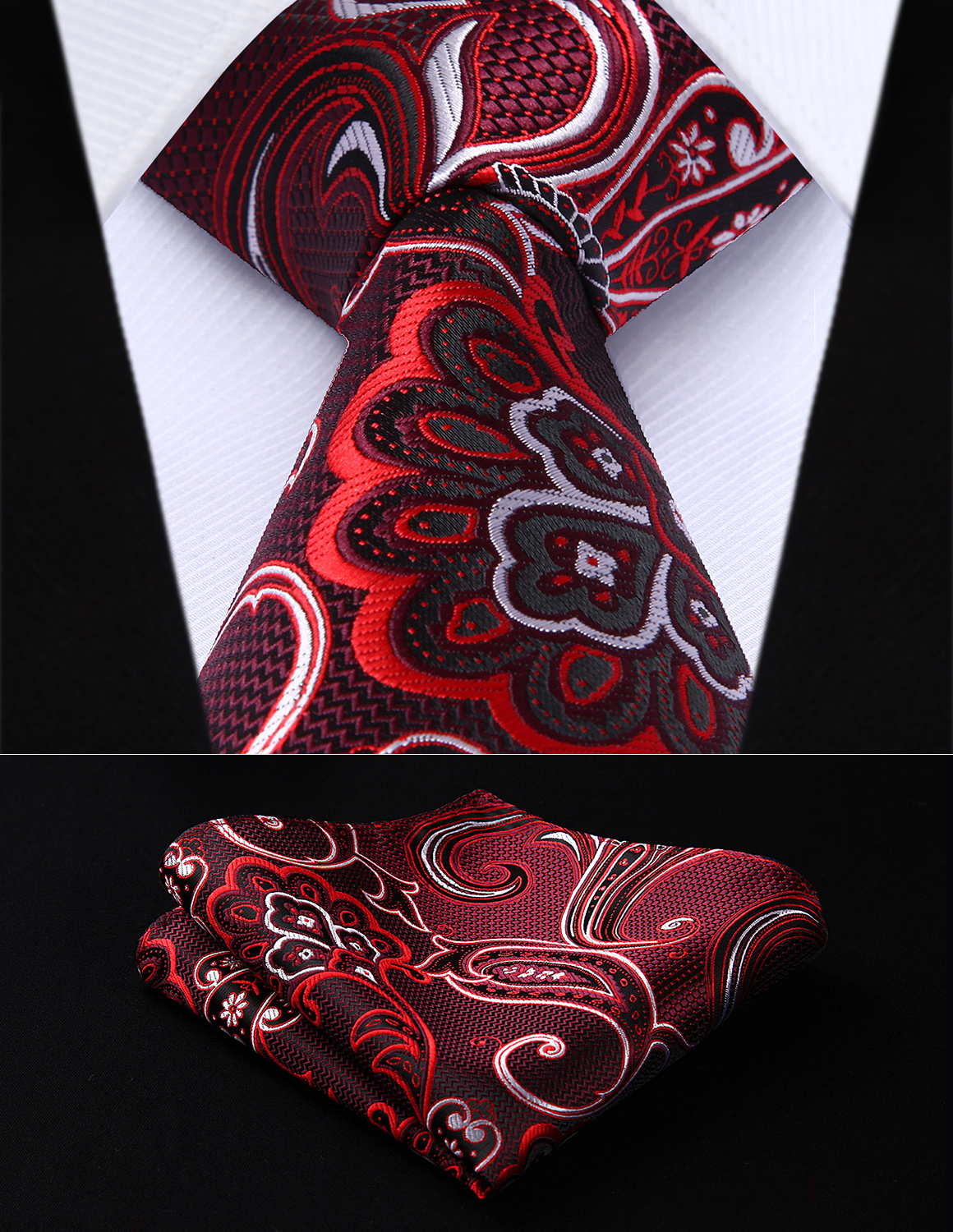 Maroon Striped Mens Tie and Pocket Square Set