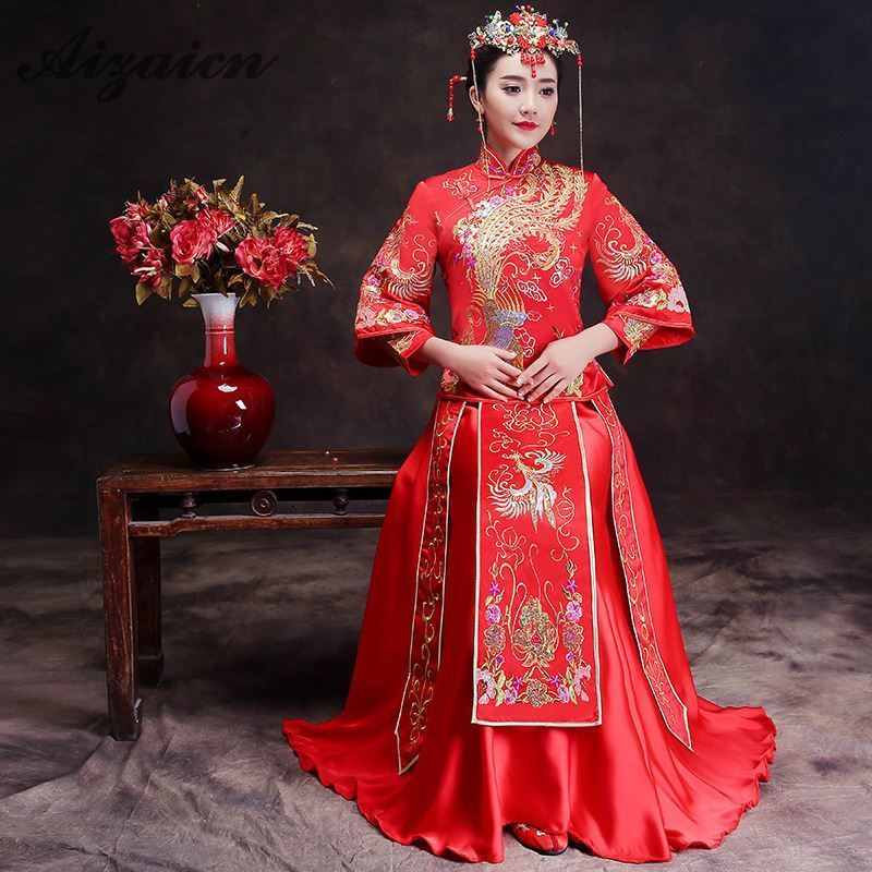 Sumptuous Chinese Style Wedding Dress Red Embroidery