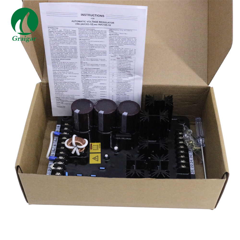 Automatic Voltage Regulator AVR VR6 50/60 HZ Power Requirements K63 12B and K125 10B