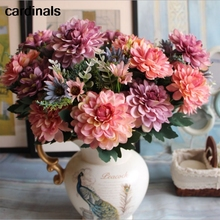 Flower Rose Artificial-Silk European-Marigold Bouquet Wedding Party-Decoration Fake Daisy
