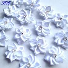 40p 25mm White Color Ribbon Flowers With Rhinestone Garment Sewing Supplies Handmade Appliques A010-7