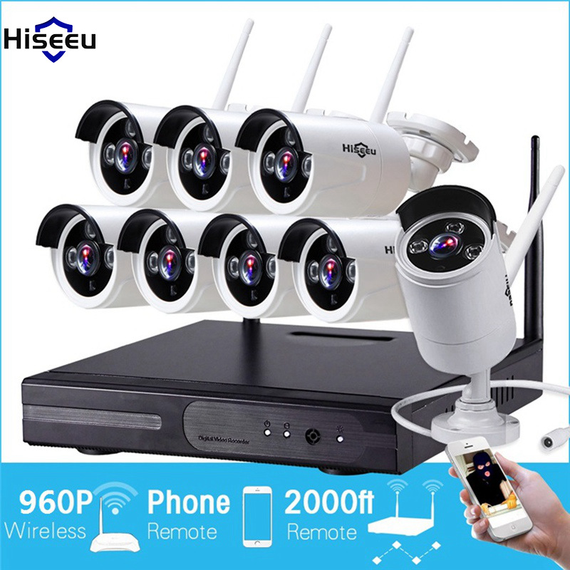 Hiseeu 960P Wireless CCTV 8CH NVR Kit Outdoor IR Night Vision IP WiFi Real HD Camera Security Surveillance EU Plug Smart Home
