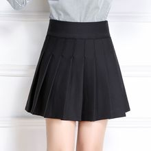 #6024 2018 Short skirt women Sexy saias High waist skirt A-line Korean Pleated skirt Mini Black skirt Anti-emptied Preppy style