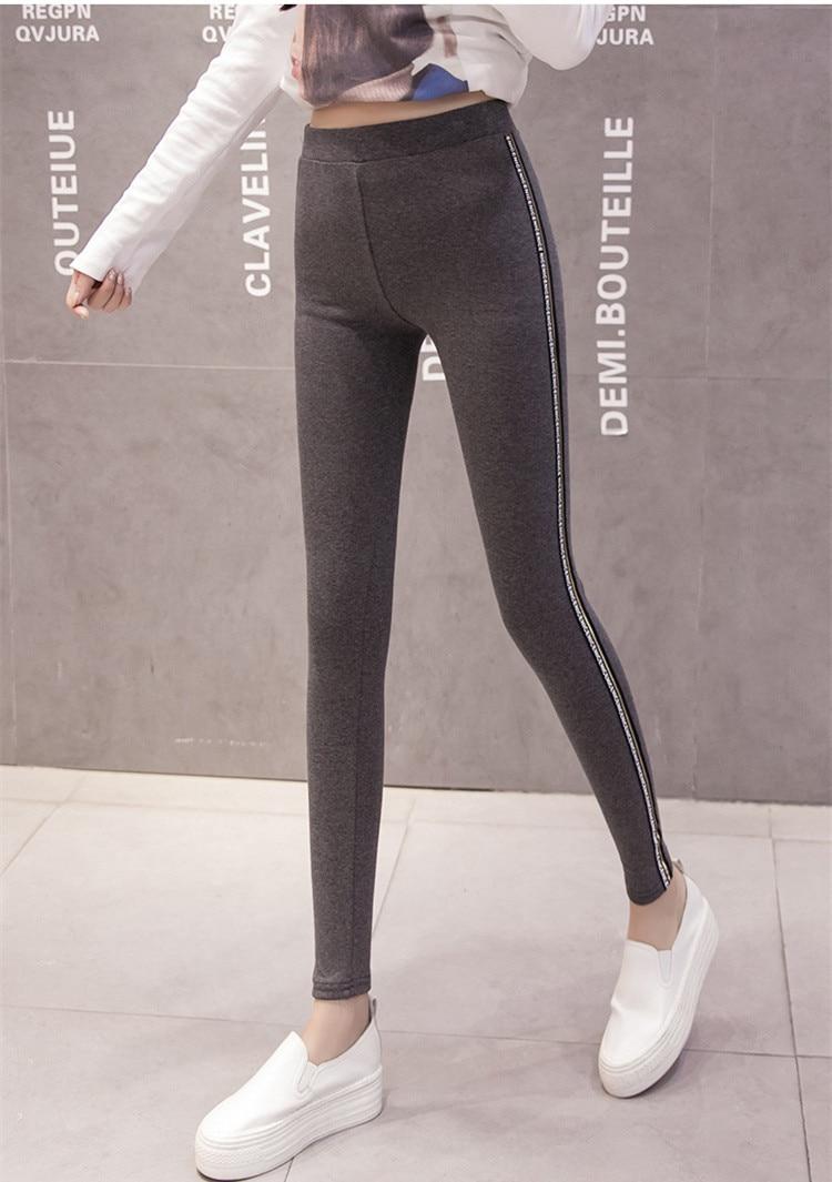 High Quality Cotton Leggings Side stripes Women Casual Legging Pant Plus Size 5XL High Waist Fitness Leggings Plump Female 37