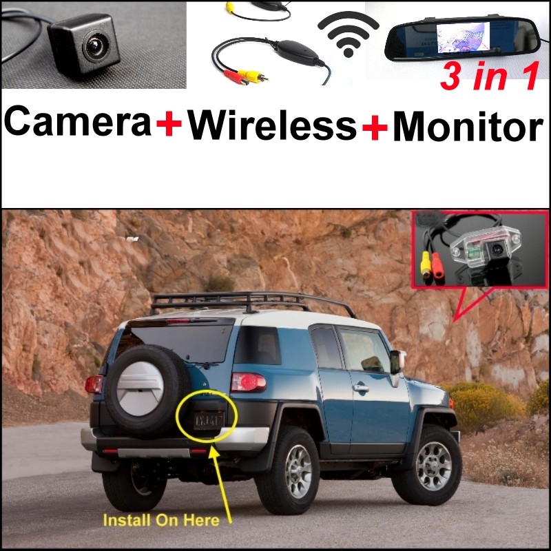 3 in1 Special Rear View Camera + Wireless Receiver + Mirror Monitor Easy DIY Back Up Parking System For TOYOTA FJ Cruiser wireless receiver mirror monitor diy back up parking system for toyota sportsvan 3 in1 special rear view camera