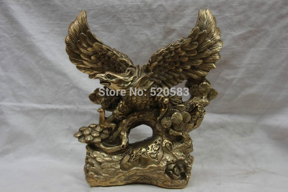 9 Chinese Folk Refined Copper Bronze Feng Shui Awing Fly Eagle Hawk Statue