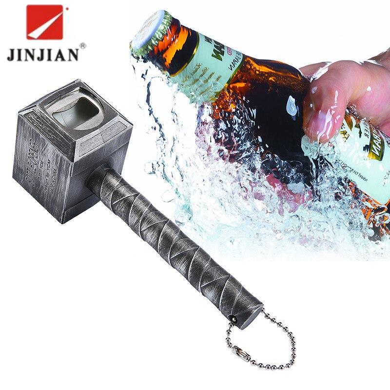 JINJIAN Beer Bottle Openers Hammer Of Thor Shaped Opener Wine Beer Soda Glass Cap Bottle Opener Kitchen Bar Gift Zinc Alloy 2018