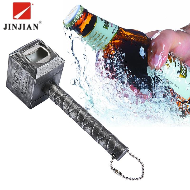 JINJIAN cerveza abrebotellas martillo de Thor en forma de abrelatas vino cerveza Soda Glass Cap abrebotellas cocina Bar Zinc regalo aleación 2018