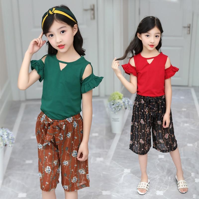 Conjunto de Roupas meninas Moda Infantil Manga Curta T-camisa Chiffon + Calças Meninas Terno Ajustado 2 peças de Roupas Infantis 4-13Y