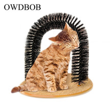 OWDBOB Funny Pet Massage Arch Dog Cat Self Groomer With Round Fleece Base Toy Brush Pets Scratching Devices Supplies