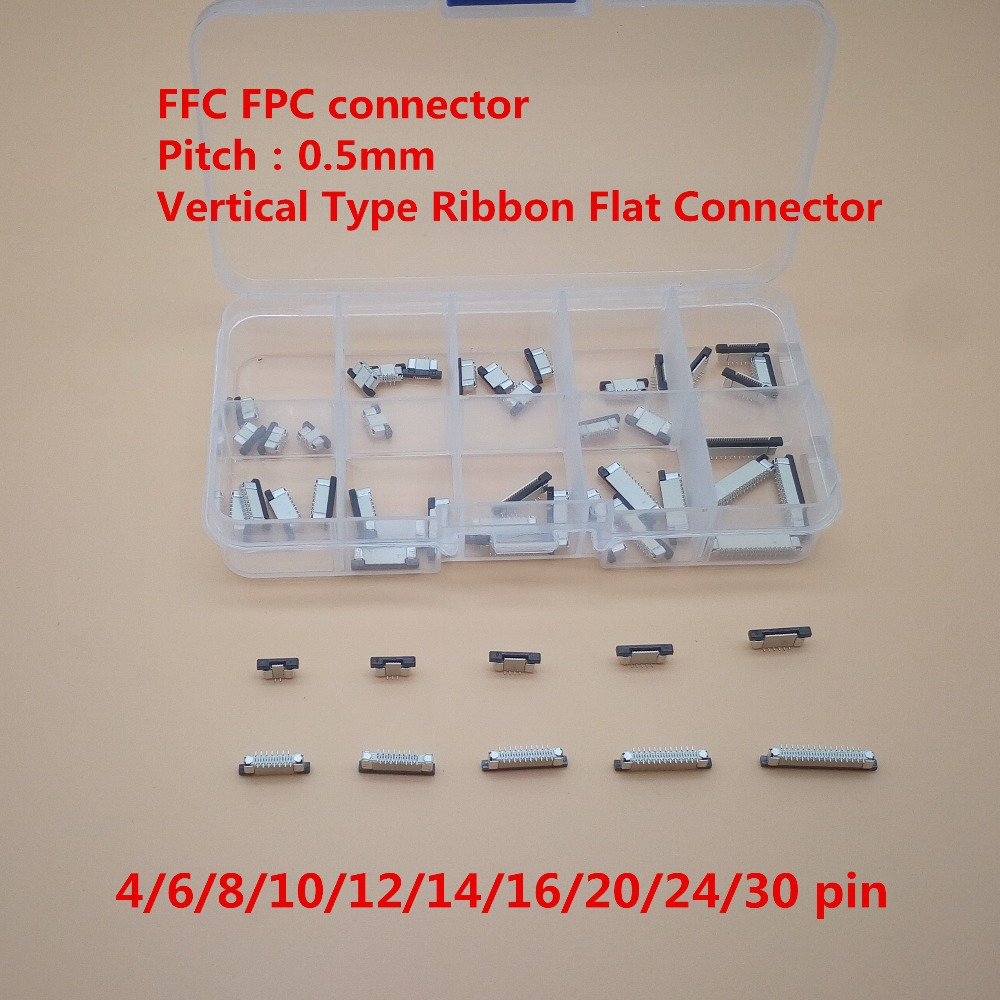 50Pcs/lot 0.5mm 4/6/8/10/12/14/16/20/24/30P Vertical Type FFC FPC Socket 0.5mm Pitch Flexible Flat Cable Connector 10 pcs fpc ffc 1mm pitch 22 pin drawer type ribbon flat connector bottom contact