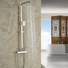 Thermostatic Mixing Valve 8 Ultrathin Rain Shower Faucet Set In wall Shower Mixer Faucet with Hand