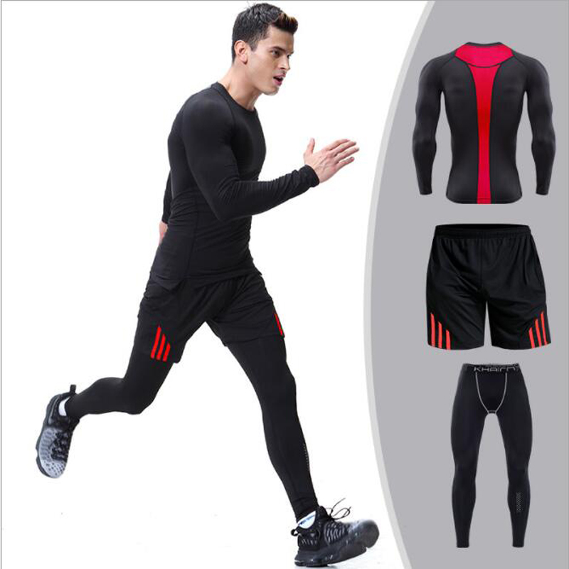 2018 men running set long sleeve jogging suits for men gym clothing tight long pants+ shorts workout sports suit run tracksuit sports style owl printed lace up narrow feet long pants for men