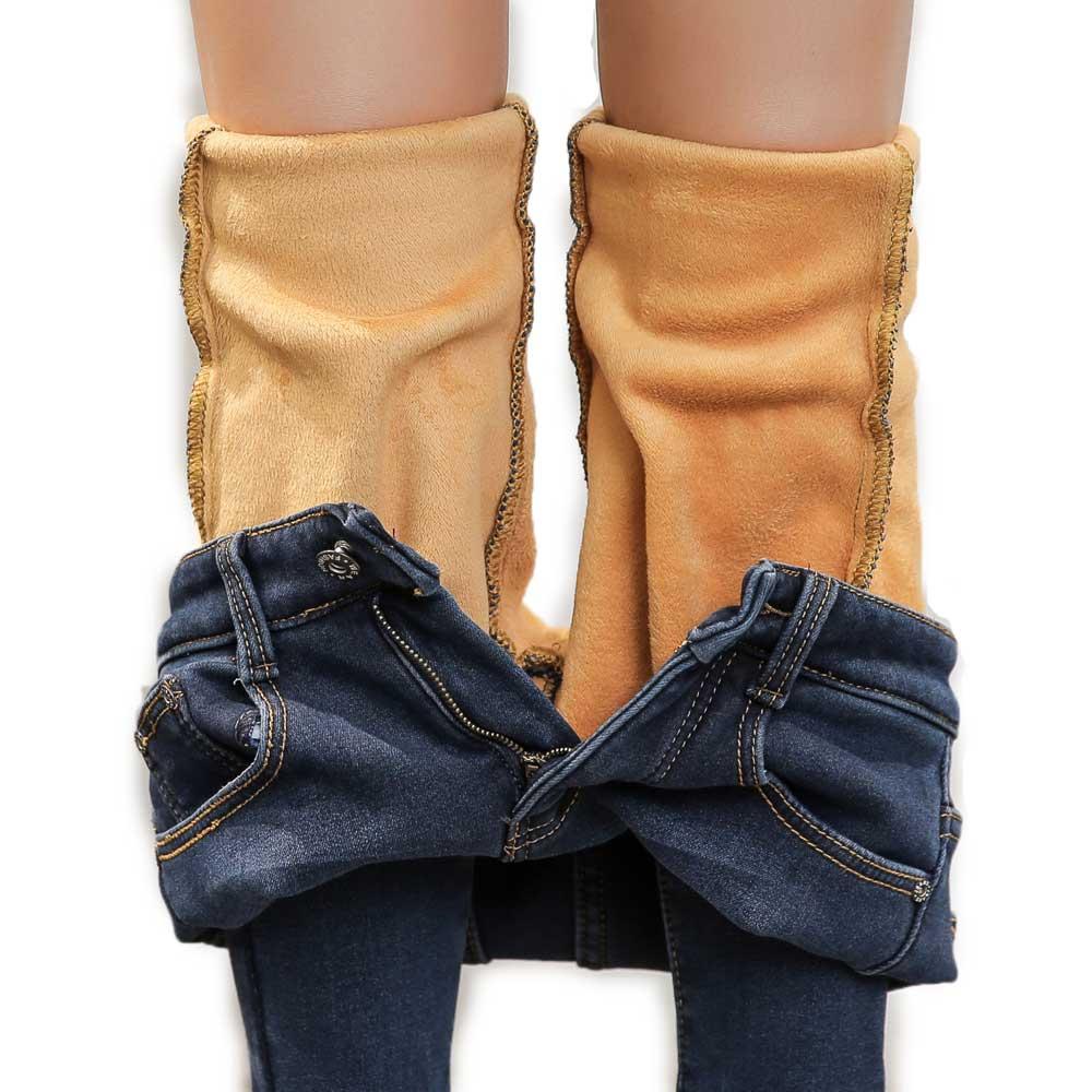 Women Hot Winter Warm Pants Fleece Inside Fur Denim Skinny Jeans Flannel Lined Thermal Famale Stretch Slim Fit Size 26-34