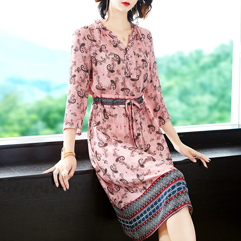 Women Pink Dress Fake Silk High Quality 2019 Summer Print Floral Midi Party Night Dresses Bodycon Slim Tunic Elegant Vintage