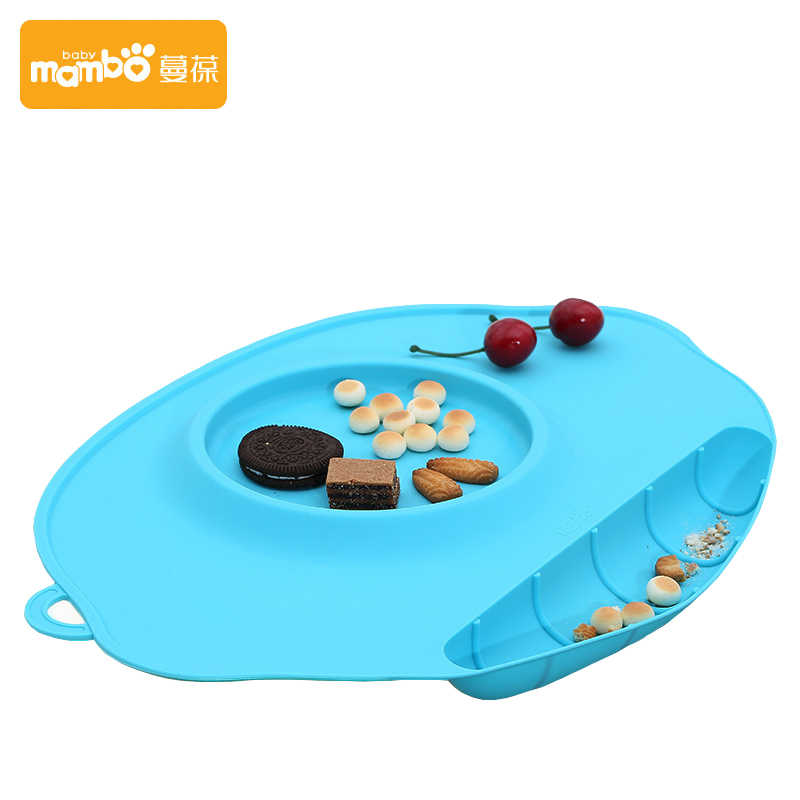 ซิลิโคนแผ่นถาดจานplacematsเด็กทารกบนโต๊ะอาหารชุดเด็กเด็กชุดอาหารเย็นจานอาหารแข็งให้อาหารช้อนส้อม