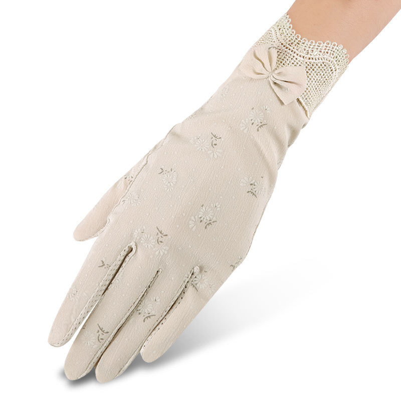 Summer Sunshade Gloves Female Summer Anti Slip, Anti Ultraviolet Short Lace Ice Touch Screen Luva Feminina Guantes