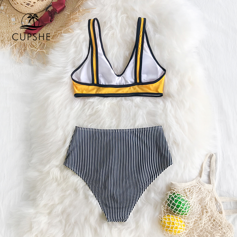CUPSHE Yellow And Black Stripe High-waisted Bikini Two Pieces Swimwear Women 2020 Girl Beach Bathing Suits 3