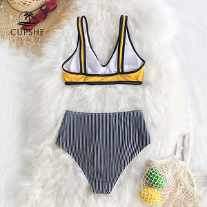 Image 4 - بيكيني عالي الخصر باللونين الأصفر والأسود من CUPSHE قطعتين لباس بحر للفتيات 2020