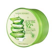 Crema para el tratamiento del acné, Gel calmante Original de Aloe Vera NATURE REPUBLIC 92%, 300ml, crema facial para el tratamiento húmedo para hidratación