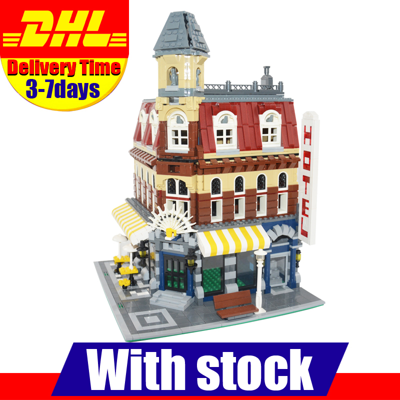 DHL Lepin 15002 2133Pcs Clone City Street Make Create Cafe Corner Model Building Kits Set Blocks Clone 10182 ynynoo lepin 02043 stucke city series airport terminal modell bausteine set ziegel spielzeug fur kinder geschenk junge spielzeug