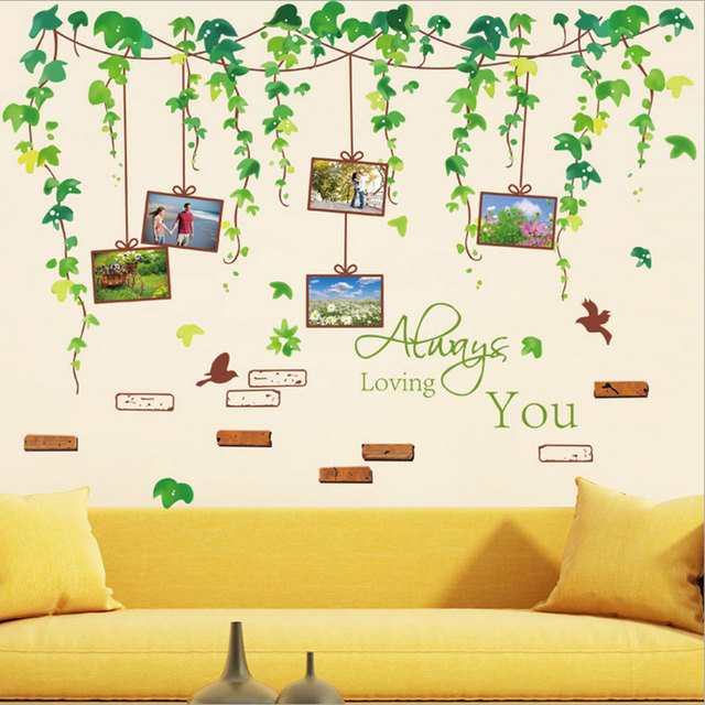 1x Kawaii Removable Green Leaves Vines Photo Tree Pvc Wall Decals